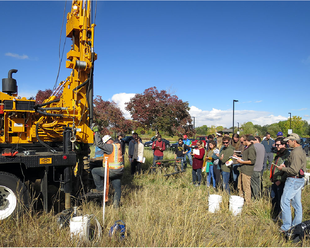 drilling demonstration with college students