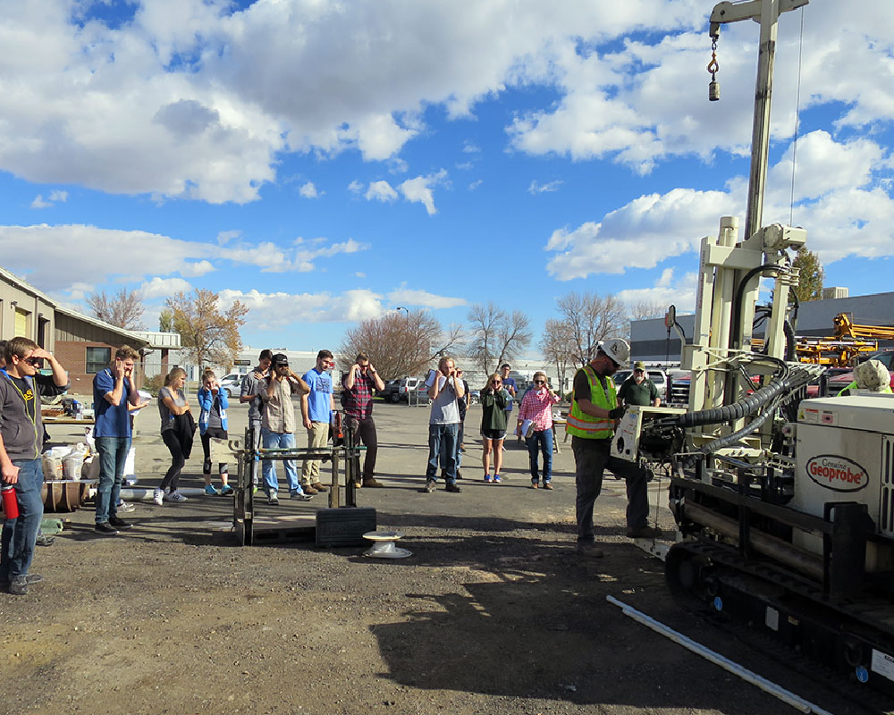 geoprobe demonstration with college students